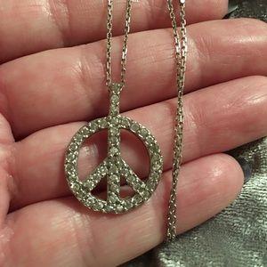 Jewelry - Sterling Silver Simulated Diamond Peace Nevklace